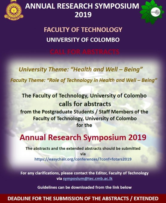 Call for Abstracts – Annual Research Symposium 2019