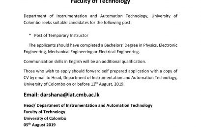 Vacancy for the Post of Temporary Instructor Department of Instrumentation and Automation Technology