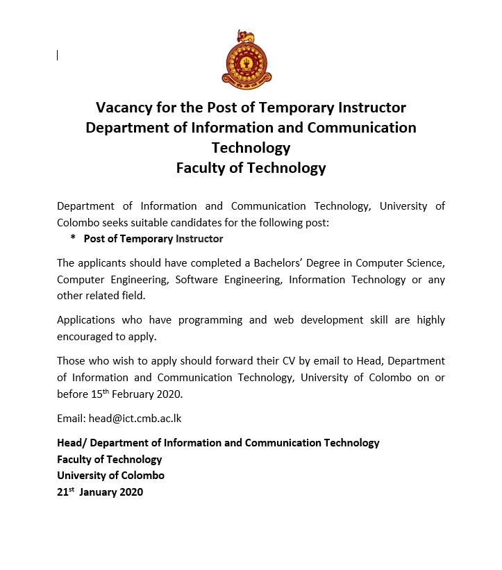 Vacancies – Post of Temporary Instructor (Department of Information and Communication Technology)
